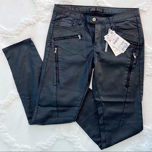 Zara Z1975 Moto Biker Skinny Waxed Jeans